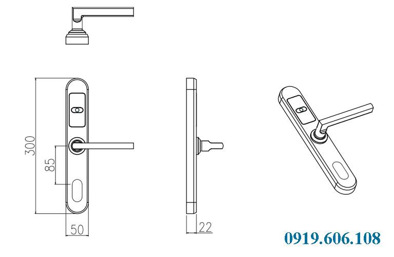 Kích thước khóa Goodum E5100 trên bản vẽ
