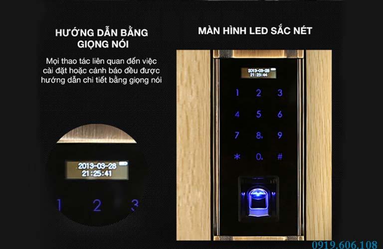 Khóa Cửa Vân Tay Kaadas 6002 có màn hình đèn led sắc nét, rõ ràng