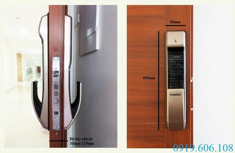 Khóa vân tay Kaadas có thiết kế hiện đại, cấu tạo chắc chắn, tăng độ bảo an tuyệt đối cho cánh cửa của bạn