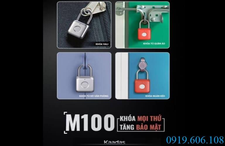 Kaadas M100 có thể khóa được mọi thứ như khóa cửa hoặc các vật dụng có tai móc khóa