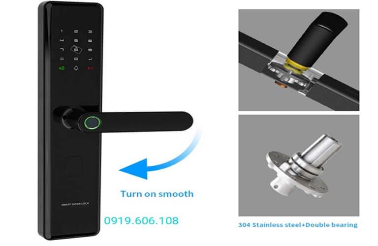 Khóa cửa thông minh OneLock WM002 có lõi khóa cứng cáp, tay nắm thả tự do, khó phá khóa bằng ngoại lực đập khóa, cạy cửa