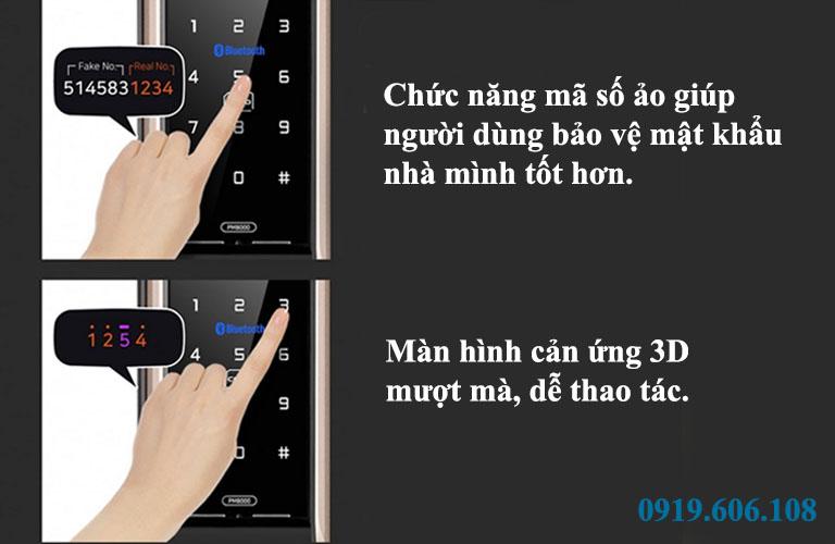 Tính năng mã số ảo và màn hình cảm ứng 3D của khóa cửa thông minh Unicor PM8000BWSK