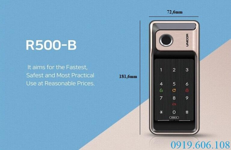 Khóa cửa vân tay Unicor R500-B thiết kế nhỏ gọn, phù hợp lắp đặt cho rất nhiều loại cửa khác nhau