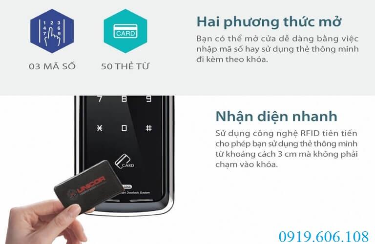 Hai chức năng mở cửa của khóa thẻ từ Unicor UN-325S-SA được ứng dụng công nghệ cao, có độ bảo an và chống sao chép tối ưu