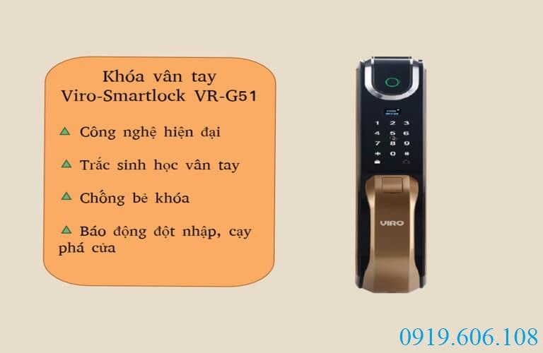 Khóa cửa vân tay Viro-Smartlock VR-G51