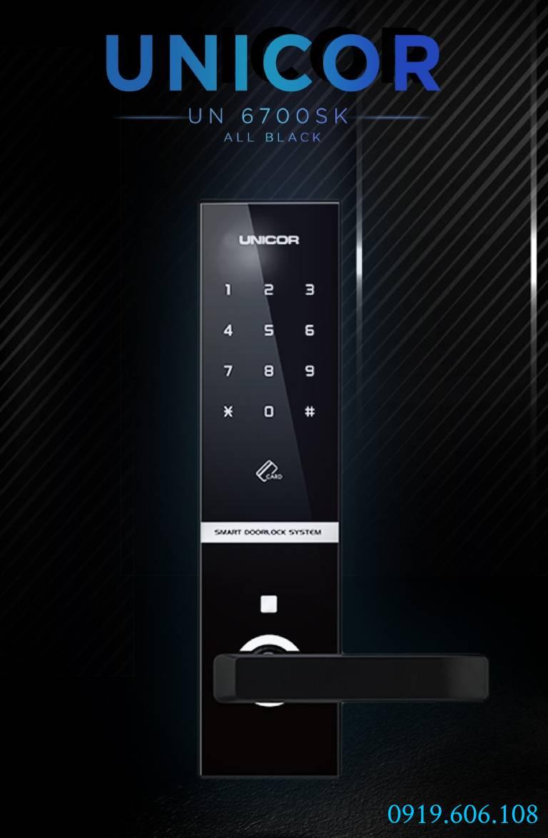 Khóa cửa thẻ từ Unicor UN-6700SK Black