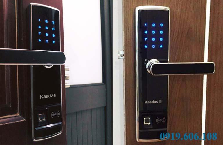 Hình ảnh khi lắp đặt xong của khóa cửa Kaadas 5155