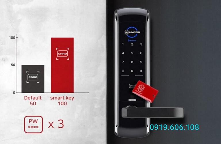 Công nghệ thẻ từ của khóa khóa thông minh Unicor UN-7200WSK hiện đại, quẹt thẻ mở khóa nhanh gọn, bảo mật tốt