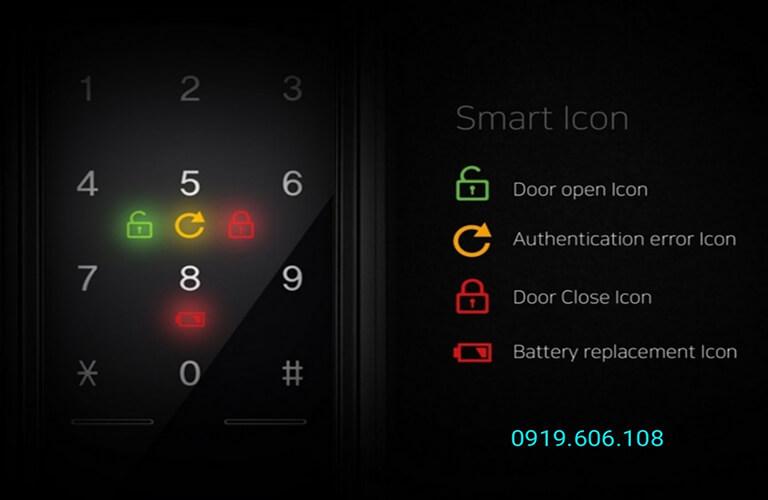 Màn hình cảm ứng cửa khóa cửa thông minh Unicor UN-7200WSK nhạy, có báo lượng pin khi hết, pin dùng được thời gian dài