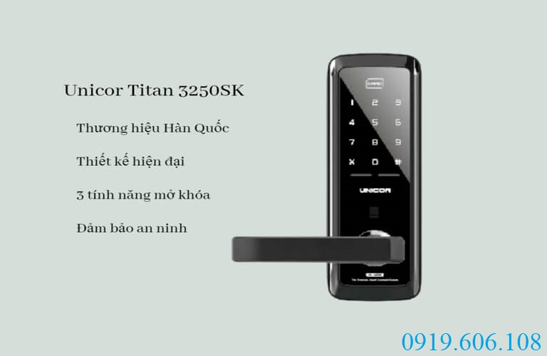 Khóa cửa thẻ từ Unicor Titan 3250SK với thiết kế hiện đại, nhiều tính năng mở khóa tiện lợi, đảm bảo an toàn cho không gian của bạn