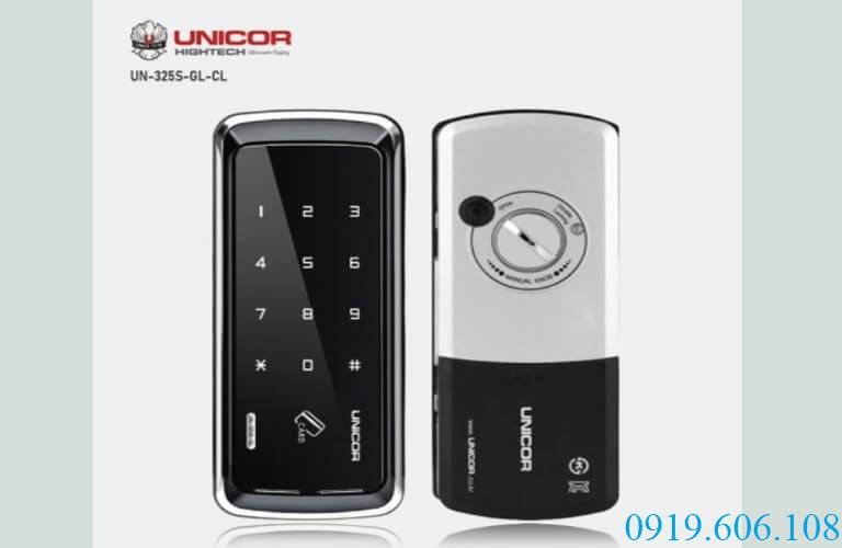 Khóa thẻ từ Unicor UN-325S-GL-CL thiết kế nhỏ gọn chuyên dùng cho cửa kính