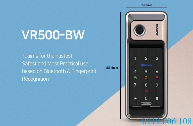 Khóa thông minh Unicor VR500-BW có thiết kế hiện đại, tuy nhỏ gọn nhưng độ bảo an cực cao