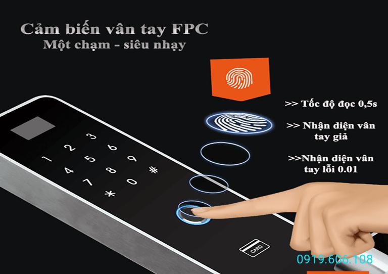 Công nghệ cảm biến vân tay FPC Thụy Điển có tốc độ đọc vân nhanh, tính bảo mật cao, chỉ nhận diện vân tay có thể sống có áp suất nhiệt độ đúng với dấu vân đã lưu